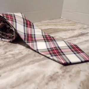 Tommy Hilfiger Red & White Plaid Silk Tie